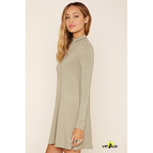 Đầm Mock-Neck A-Line Dress