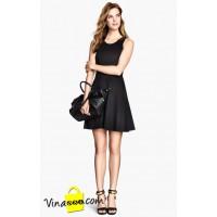 Đầm xòe công sở H&M đen