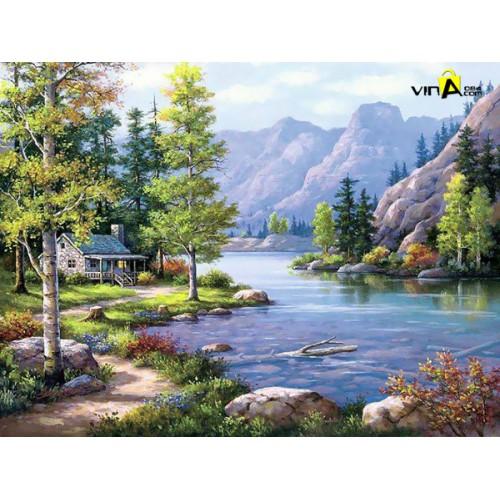 Tranh sơn dầu - sông núi